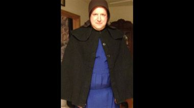 Sgt Chad Adams dressed as an Amish woman.