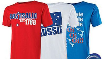 A photo from the Aldi webpage advertising Australia Est. 1788 T-shirts. (Supplied)
