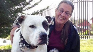 Carol Devia and her beloved pit bull. (Bad Rap)