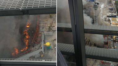 ninemsn reader Aileen Lee took these pics of the fire out a Sydney office window. (Aileen Lee)