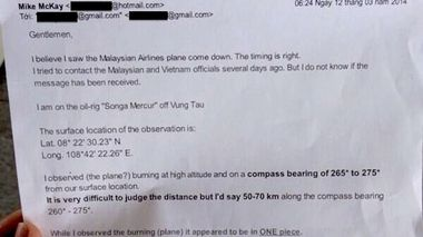 The email from New Zealand man Mike McKay reporting that the witnessed the missing Malaysia Airlines jet 'come down'. (Twitter)