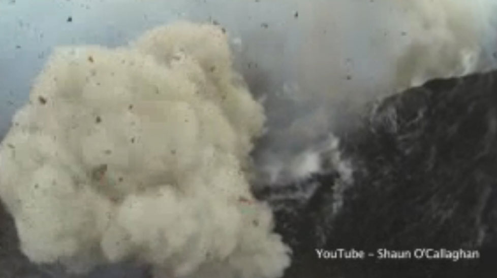 Amazing aerial view of volcanic eruption