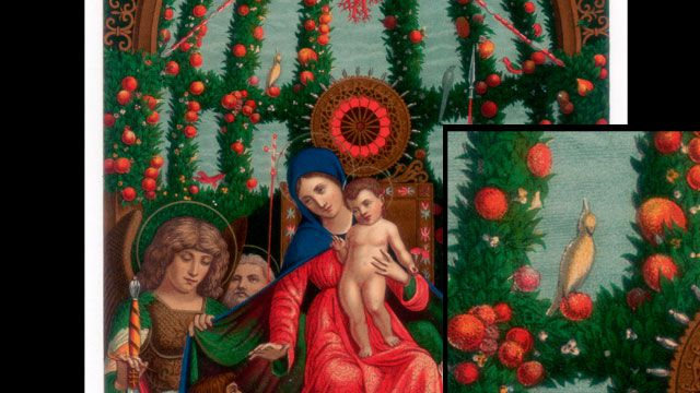 Andrea Mantegna's 1496 painting 'Madonna della Vittoria' and (insert) the apparent cockatoo (Getty).
