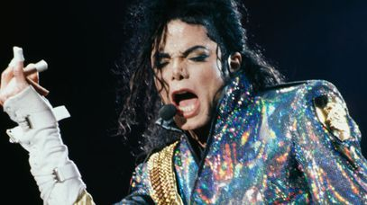 Michael Jackson performs at Wembley Stadium in 1992. (Getty)