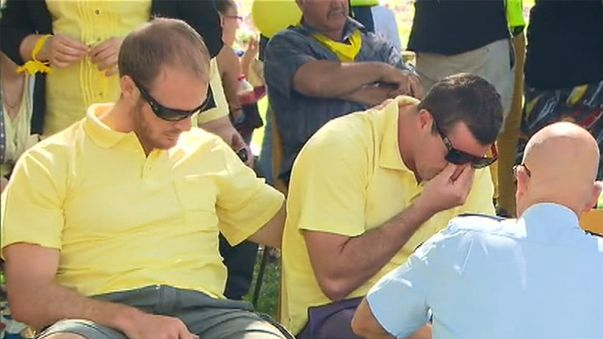 Aaron Leeson-Woolley, supported by mates and family. (9NEWS)
