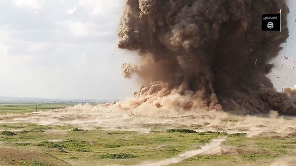 ISIL have released pictures and video of them destroying ancient historical artifacts and sites. (Supplied)