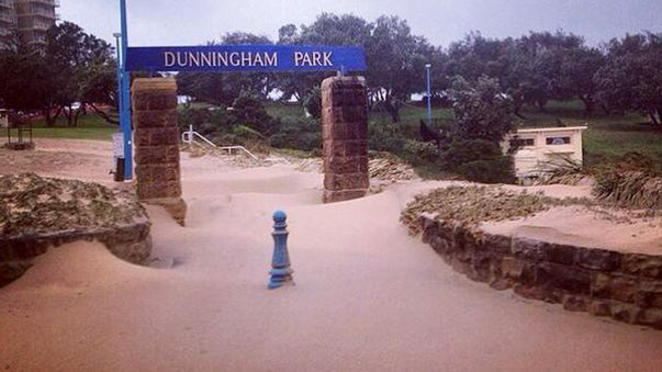 The entrance to the popular Dunningham Park, Coogee, swamped in beach sand. (Twitter - @CoogeeBayHotel)