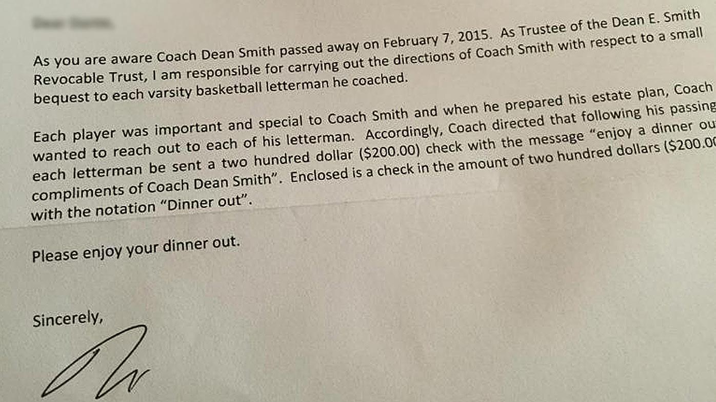 Dean Smith letter