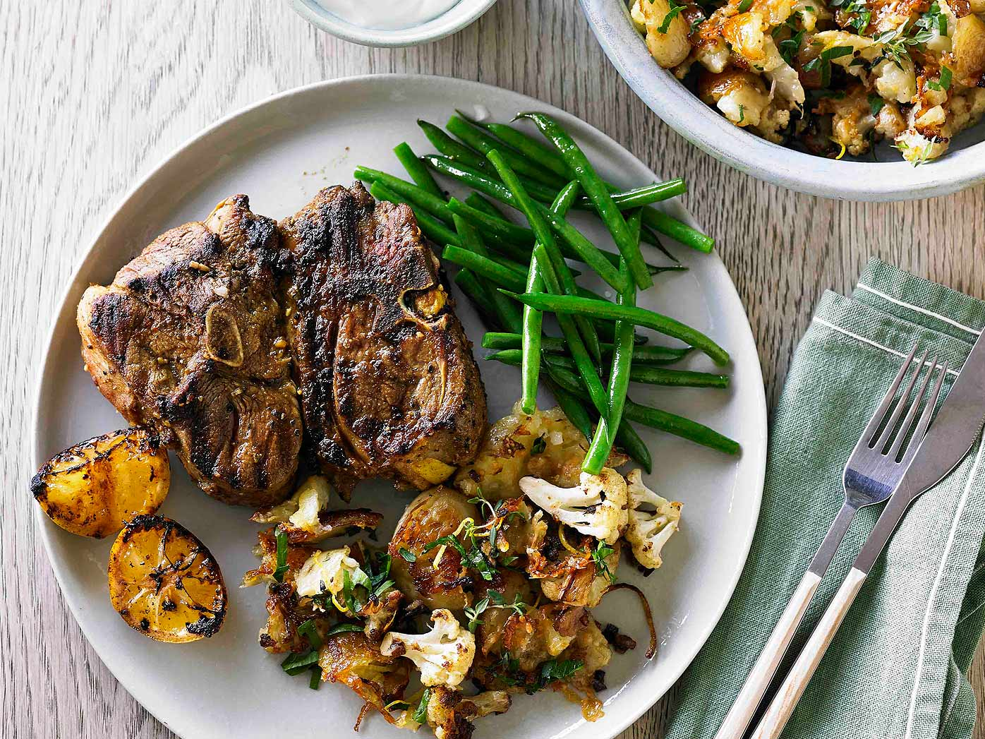 Hayden Quinn's Moroccan lamb chops with roasted potatoes and cauliflower