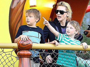 Cate Blanchett and two of her sons.