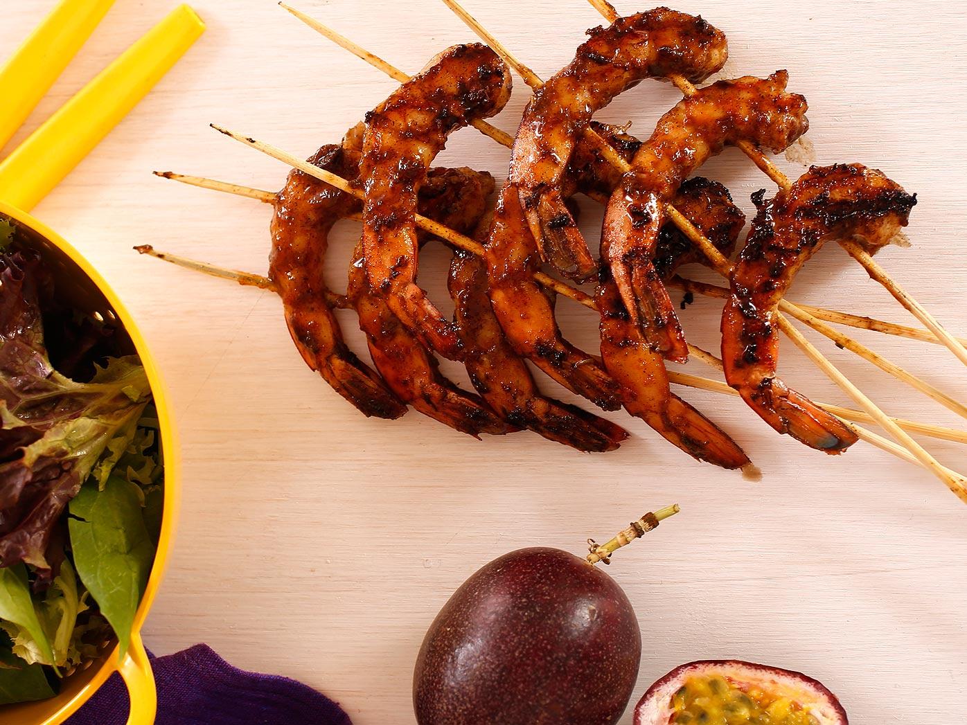 Moroccan glazed barbecue prawns