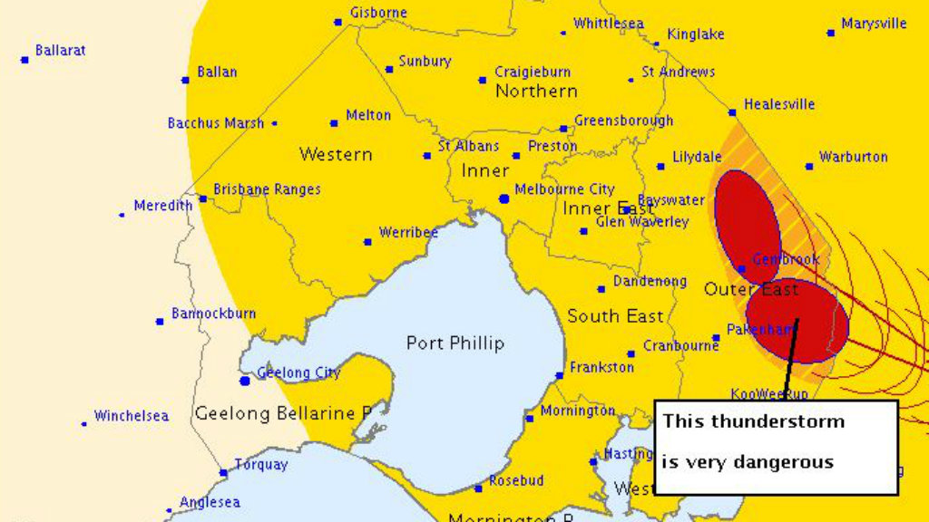 Heavy thunderstorms roll across Melbourne's outer east and