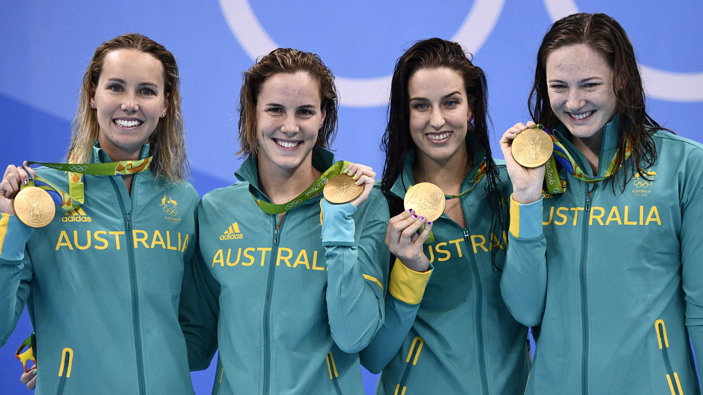 Australia's gold-medal winning women's 4x100m freestyle team (AFP)
