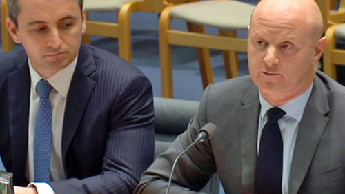 CBA boss Ian Narev (right) faced a grilling over CommInsure allegations at a Senate hearing this month.
