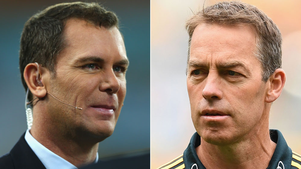 AFL commentator Wayne Carey (l) and Hawthorn Hawks coach Alastair Clarkson.