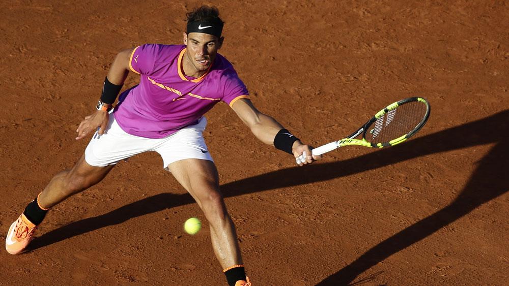 Rafael Nadal in action in he Barcelona Open. (AAP)
