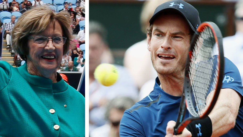 Margaret Court and Andy Murray. (AAP)