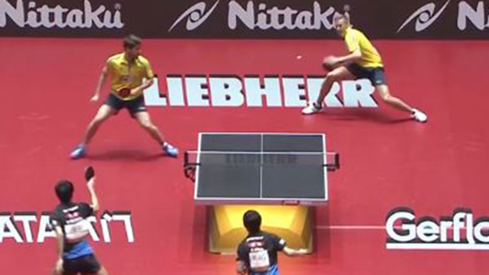 Epic rally at the World Table Tennis Championships.