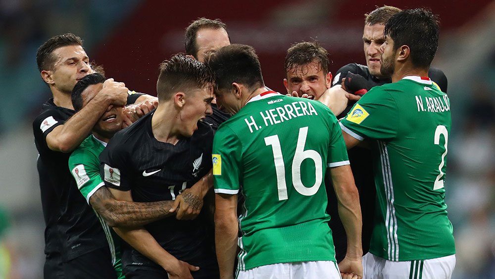 The Confederations Cup match between Mexico and New Zealand has been marred by an all-in brawl.