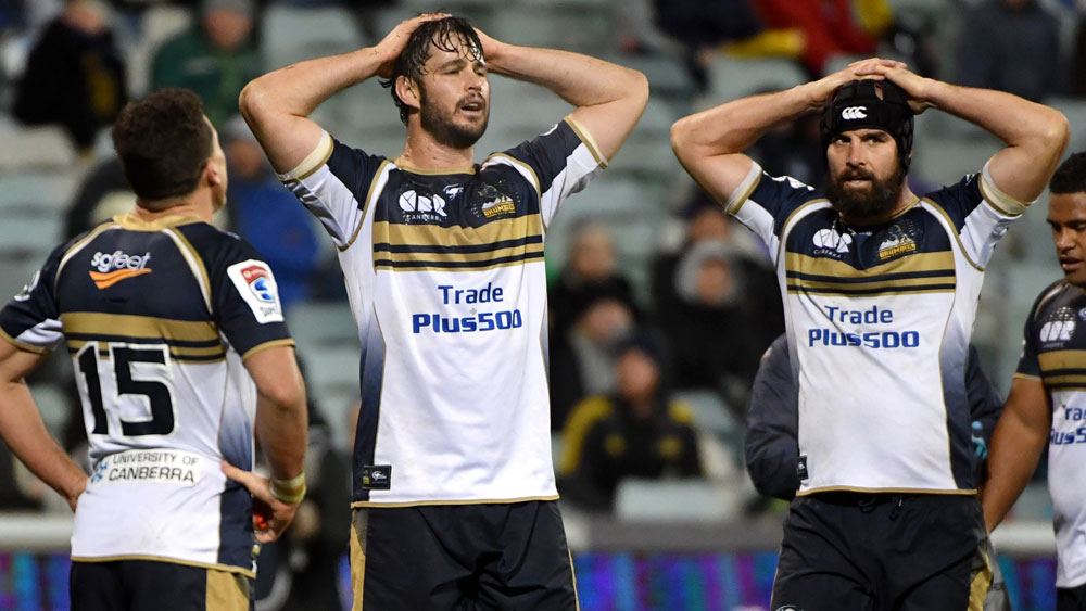 Brumbies pair Sam Carter and Scott Fardy after their team conceded a try. (AAP)