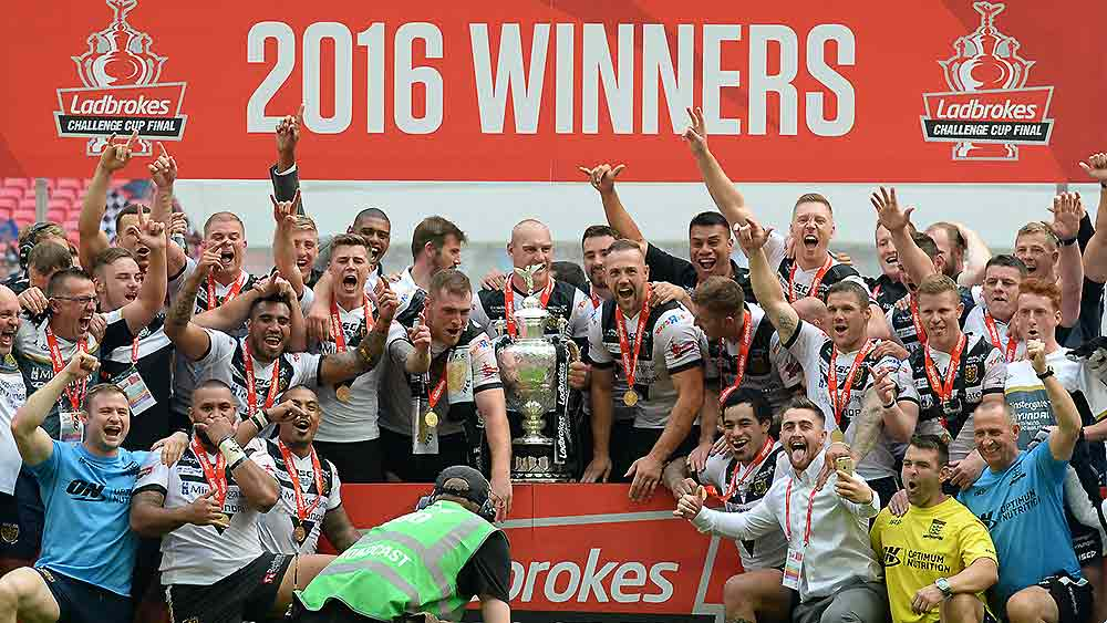 Hull FC players celebrate winning the Challenge Cup
