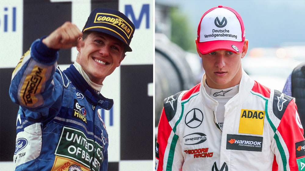 Michael Schumacher (r) and his son Mick.
