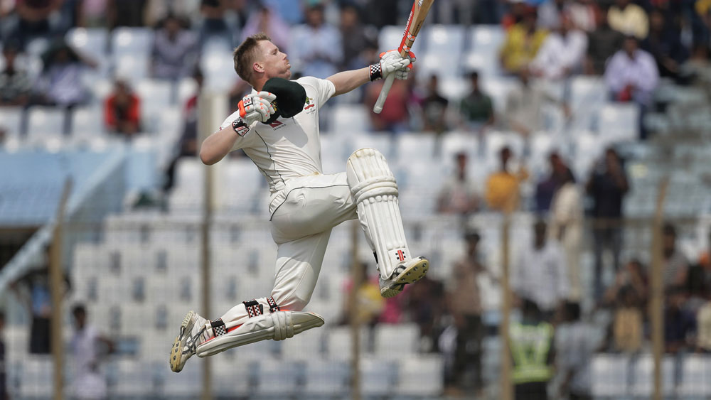 David Warner celebrates his century in the second Test. (AAP)