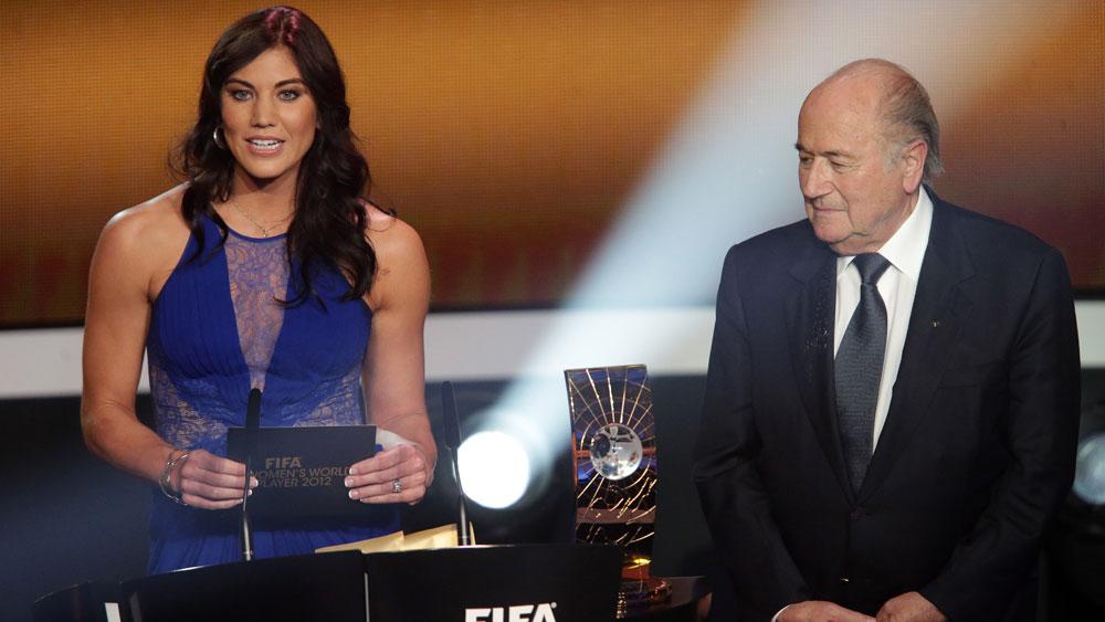 Hope Solo and Sepp Blatter.
