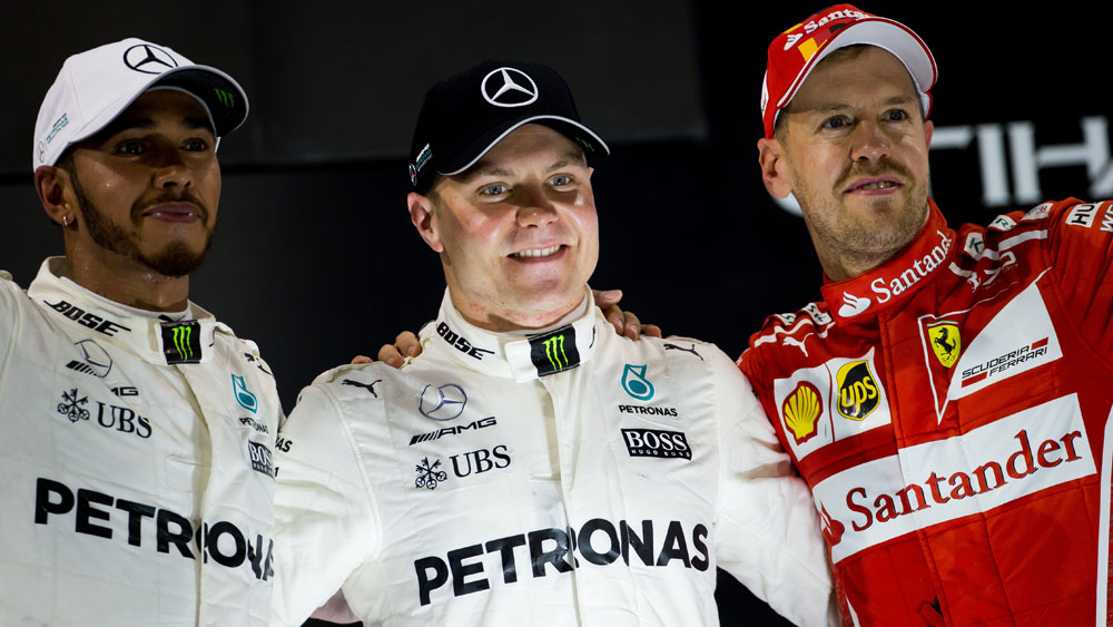 Lewis Hamilton, Valtteri Bottas and Sebastian Vettel.
