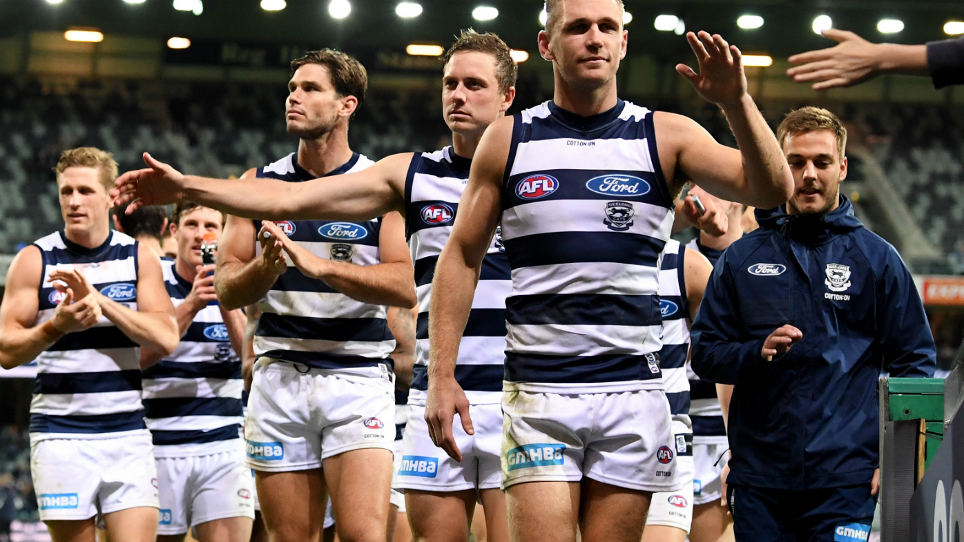 Geelong Cats celebrate their win during the Round 4 AFL match between the Geelong Cats and the St Kilda Saints at GMBHA Stadium in Geelong, Sunday, April 15, 2018.