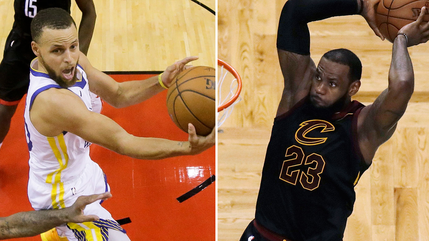 LeBron James and Steph Curry of the Golden State Warriors