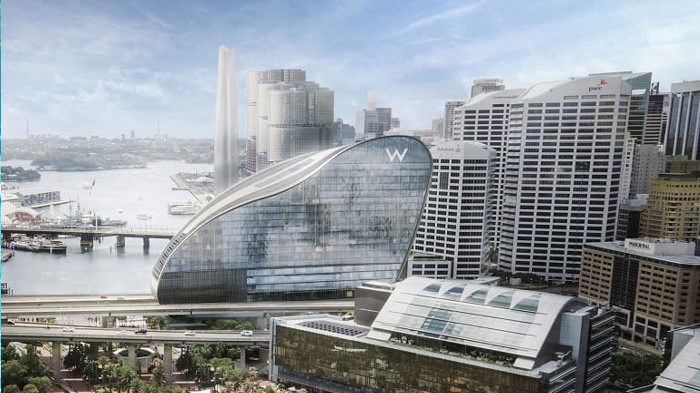 Artist's impression of the Ribbon W Hotel being constructed at Darling Harbour.  Photo: Supplied