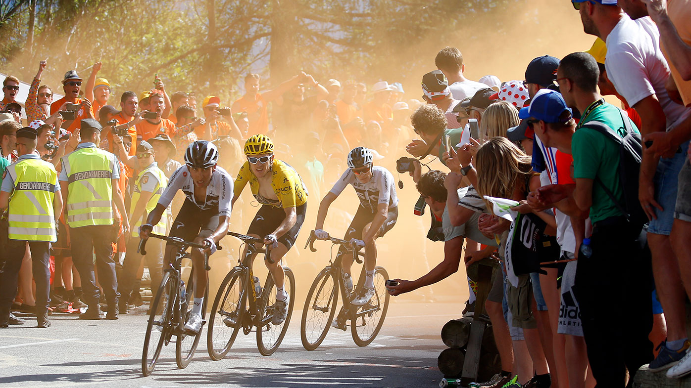 Colombia's Egan Arley Bernal Gomez, Britain's Geraint Thomas, and Britain's Chris Froome during the twelfth stage of the Tour de France.
