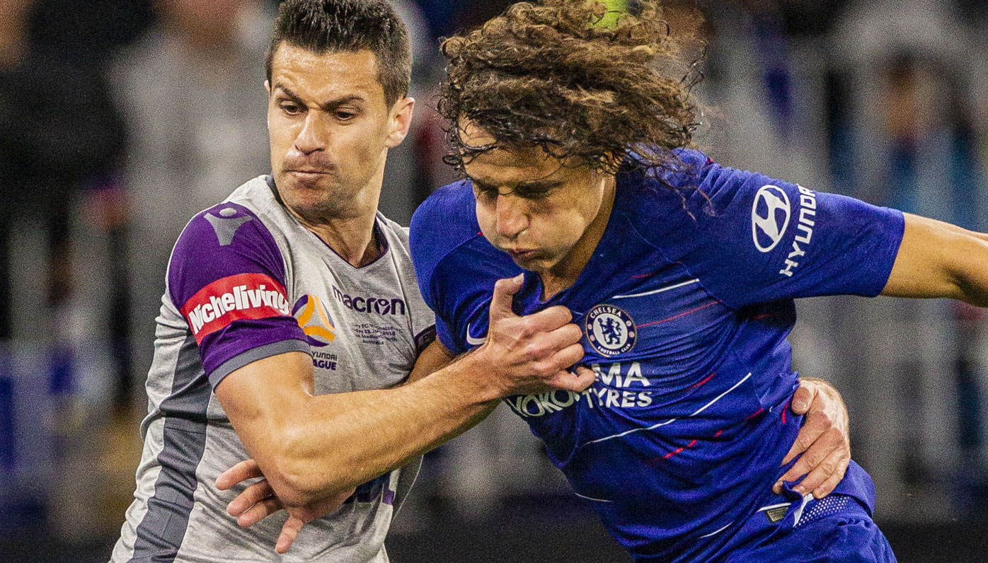 Perth Glory's Joel Chianese and Chelsea's Emerson