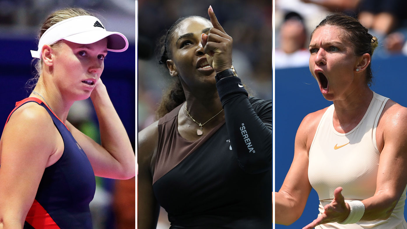 Caroline Wozniacki (l), Serena Williams (c) and Simona Halep (r)