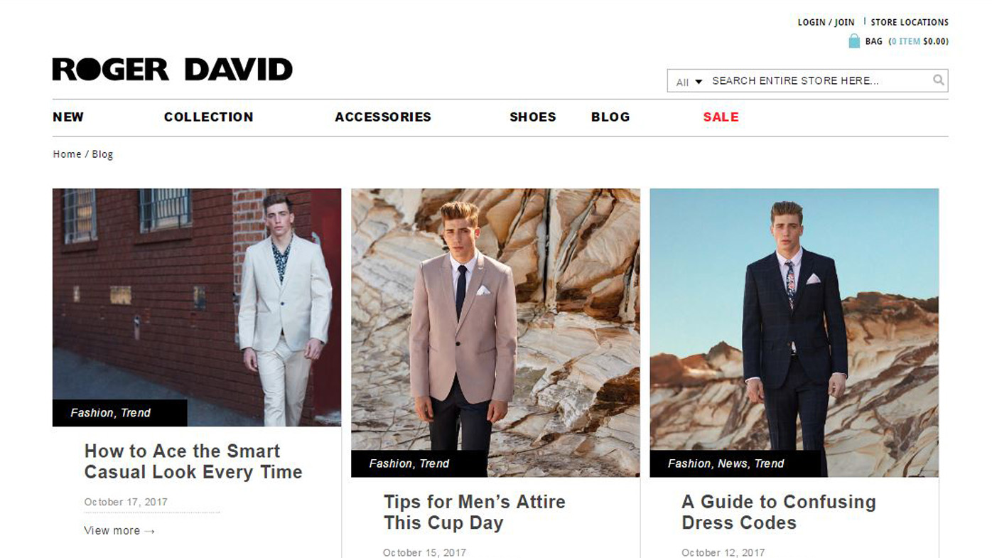 Roger David has been in business since 1942 selling menswear, suits and accessories.