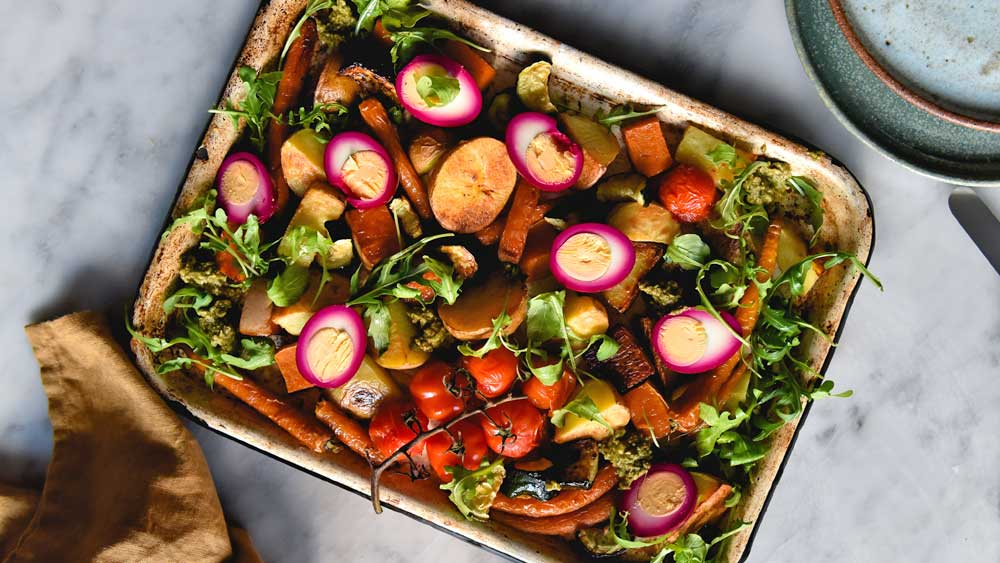Tray bake with beetroot pickled eggs recipe - 9Kitchen