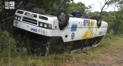 Bus driver may be charged after after school bus rolls over near SA-Vic border