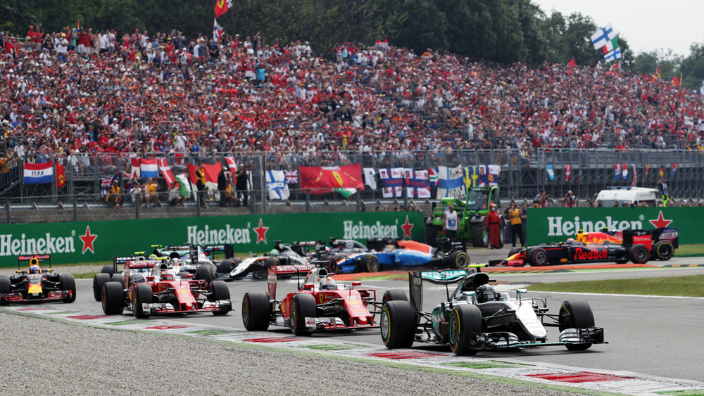 Nico Rosberg takes the lead after Lewis Hamilton got off to a slow start. (AAP)