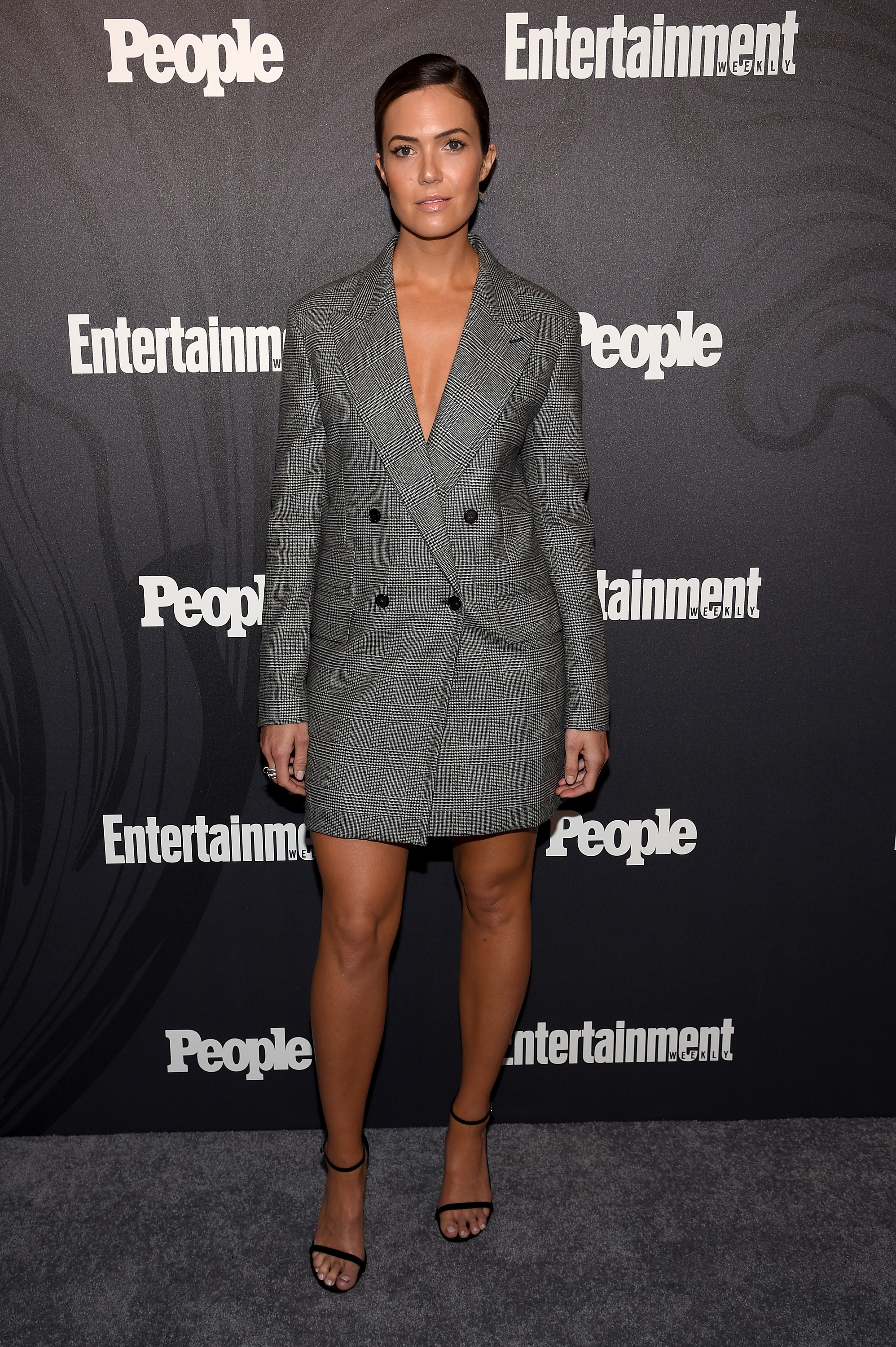 Mandy Moore steps out in plunging blazer dress