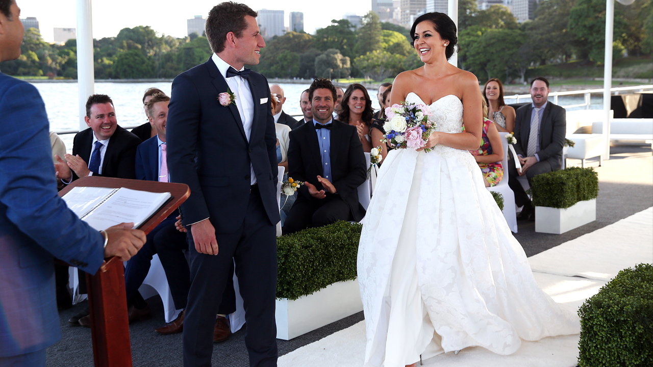 Christie makes her way down the aisle.