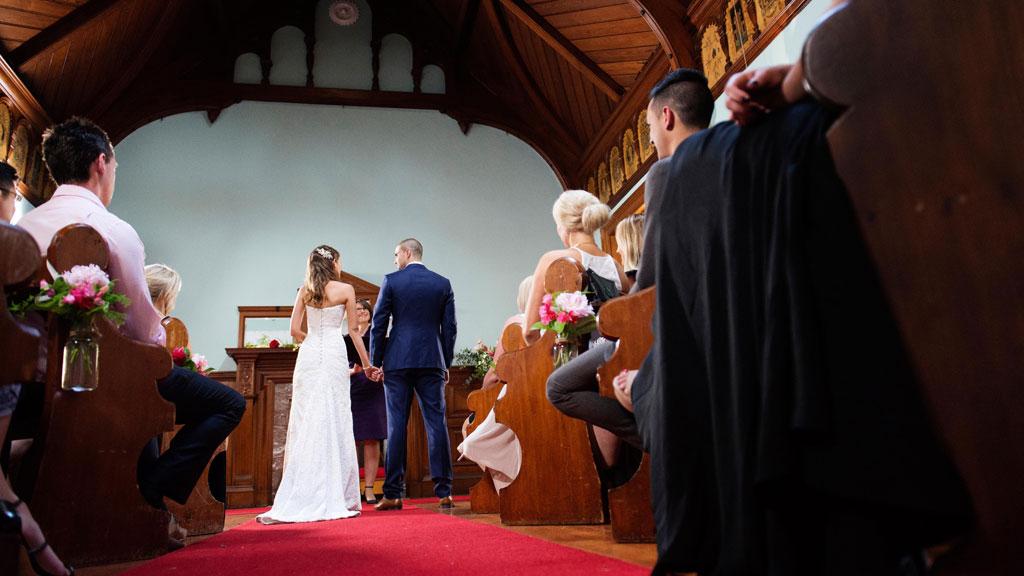 Erin and Bryce brace through their nuptials.