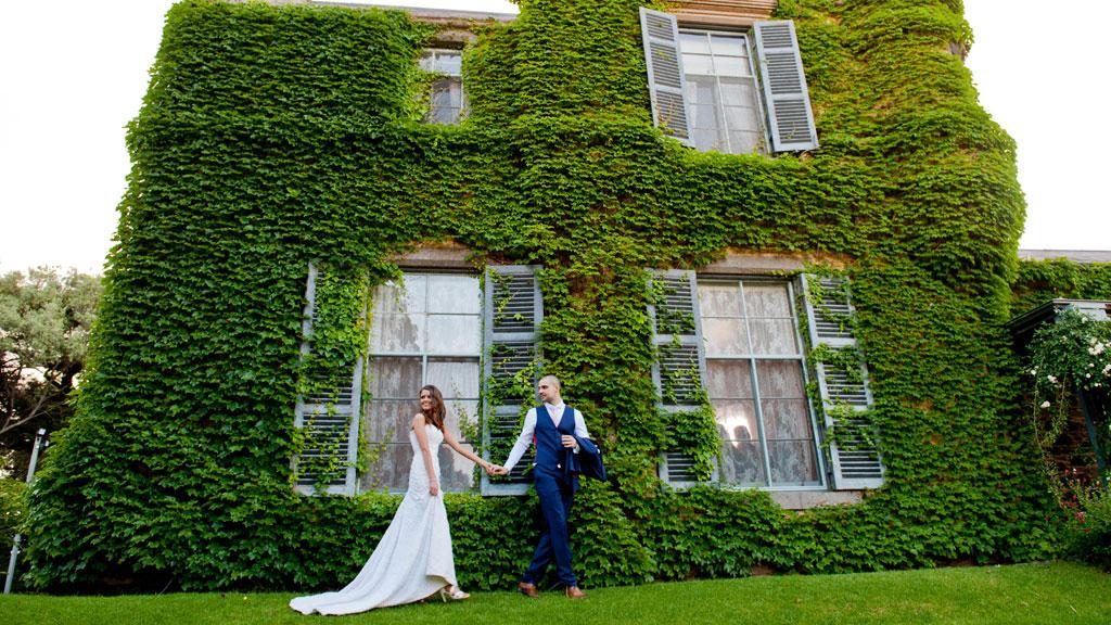 The couple frolic around Overnewton Castle