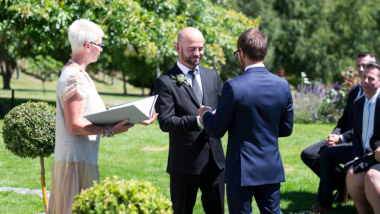 'It's like playing potatoes': Andy and Craig navigate exchanging rings.