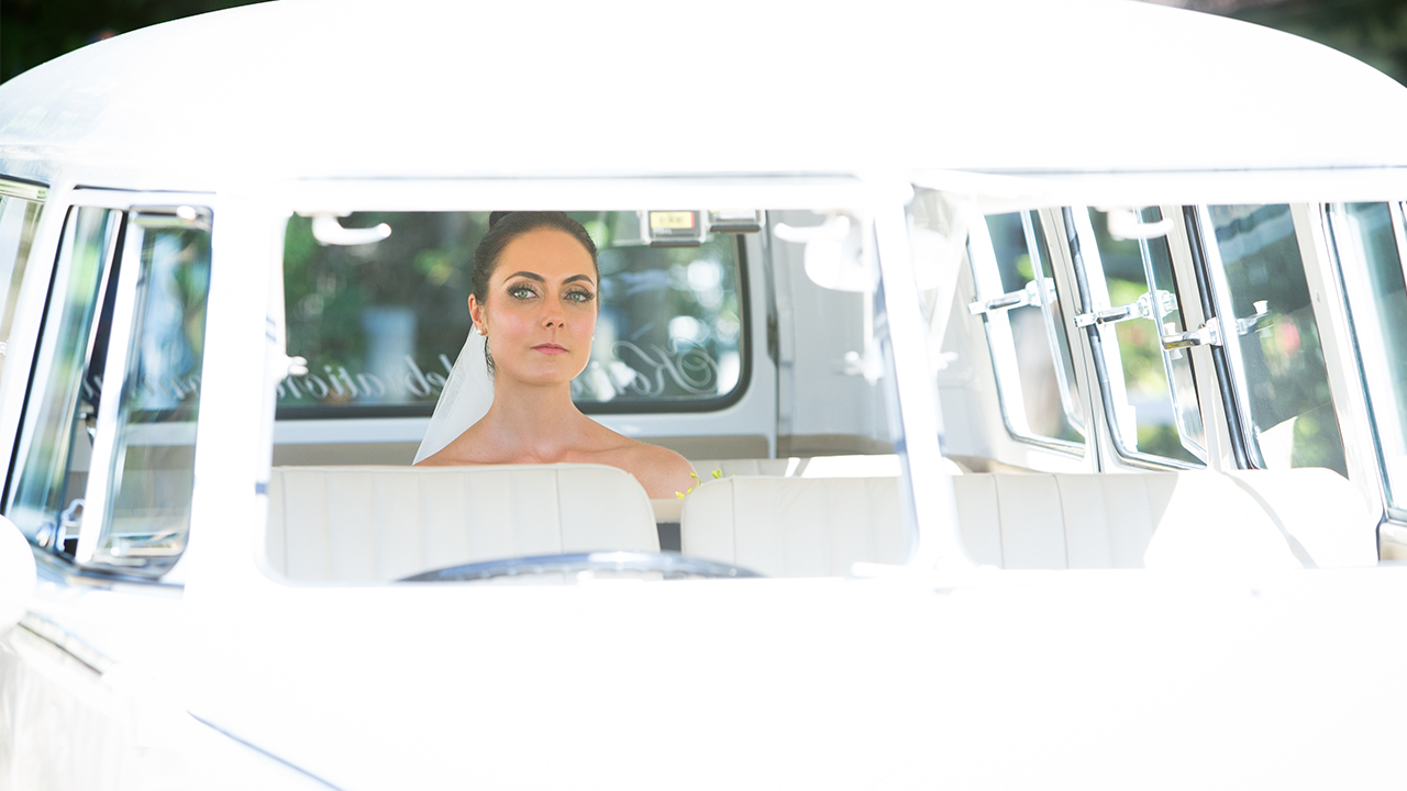 Monica patiently waits in her bridal Kombi.