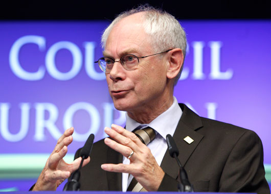 European Council President Herman Van Rompuy speaks during a media conference at an EU summit in Brussels. (AAP)
