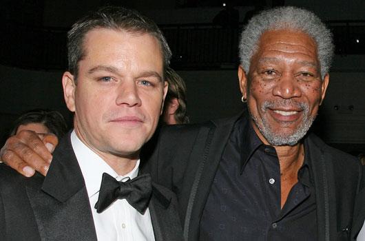 Matt Damon and Morgan Freeman make more movies than nearly anyone else in Hollywood. (AAP)