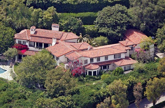 An aerial view of Meg Ryan's Bel Air mansion in California.