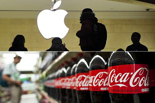 Apple, Coca Cola logos