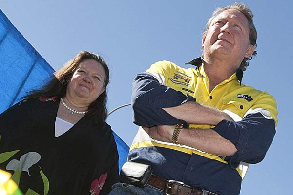 Siding with son ... Gina Rinehart and Andrew 'Twiggy' Forrest (Getty).